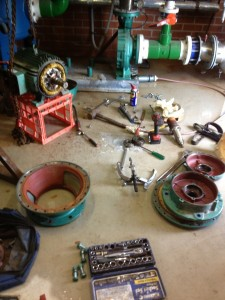 Pump fully stripped down and ready for new bearings