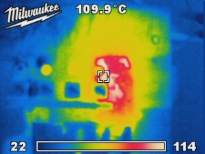 Thermal image of switchboard revealing dangerous hot spot